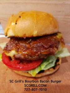 SC Grill's Bourbon Bacon Burger is One Of The Best Food Truck Burger in Spring Hill, Hudson and Brooksville.