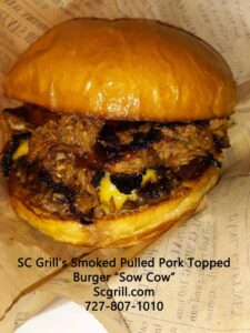 """SC Grill's Texas Burger The """"Sow Cow"""" The Best Food Truck Burger With Pulled Pork."""